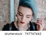 portrait of beautiful freaky... | Shutterstock . vector #747767662