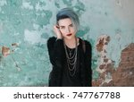 portrait of beautiful freaky... | Shutterstock . vector #747767788