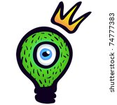 Monster: green light bulb with eye and crown. - stock vector