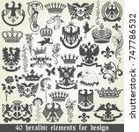 set of heraldic elements for... | Shutterstock .eps vector #747786532