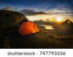 mount rinjani  lombok ... | Shutterstock . vector #747793336