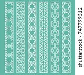 vector set of line borders with ... | Shutterstock .eps vector #747799312