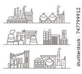 set of industry factories in... | Shutterstock .eps vector #747799912