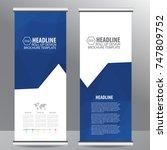 blue roll up business brochure... | Shutterstock .eps vector #747809752
