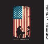 Never Forgotten Fallen Solider American Flag Silhouette Design