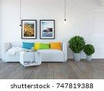 white scandinavian room... | Shutterstock . vector #747819388