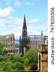 view of edinburgh with scott... | Shutterstock . vector #747820306