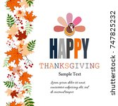 happy thanksgiving abstract... | Shutterstock . vector #747825232