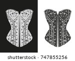 black and white corsets | Shutterstock .eps vector #747855256