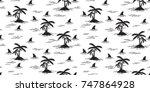 shark fin dolphin whale ocean... | Shutterstock .eps vector #747864928