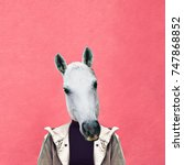 Stock photo contemporary art collage man horse on pink wall background jeans outfit 747868852