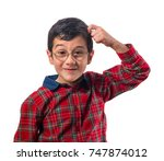 little boy with glasses... | Shutterstock . vector #747874012