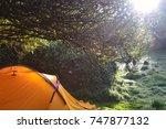 camping yellow tent | Shutterstock . vector #747877132