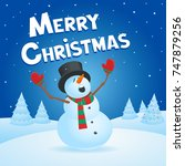 snowman singing merry christmas | Shutterstock .eps vector #747879256