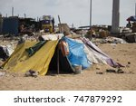 india chennai  refugee camp on... | Shutterstock . vector #747879292