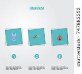 flat icons revolver ...   Shutterstock .eps vector #747883252