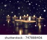 candles lights on dark... | Shutterstock . vector #747888406
