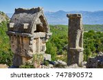 ancient lycian pillar tomb in... | Shutterstock . vector #747890572