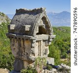 Small photo of Ancient Lycian rock tomb in Pinara, Fethiye, Turkey