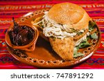 cemita poblana with chiles... | Shutterstock . vector #747891292