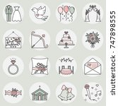 vector icon set of wedding... | Shutterstock .eps vector #747898555