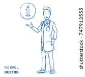 modern doctor in white coat and ... | Shutterstock .eps vector #747913555