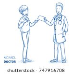 modern doctor in white coat and ... | Shutterstock .eps vector #747916708