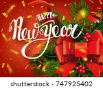 happy new year lettering...   Shutterstock .eps vector #747925402