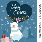 merry christmas card with bear... | Shutterstock .eps vector #747932905