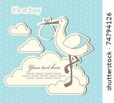 baby boy announcement card.... | Shutterstock .eps vector #74794126