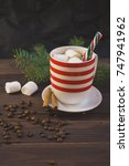 cup of coffee and christmas... | Shutterstock . vector #747941962