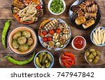 various vegan dishes and snacks.... | Shutterstock . vector #747947842