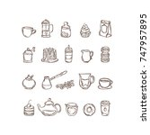 vector hand drawn icon set... | Shutterstock .eps vector #747957895