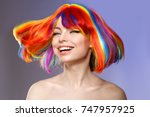 woman hair as color splash.... | Shutterstock . vector #747957925