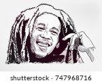 bob marley sketch vector... | Shutterstock .eps vector #747968716