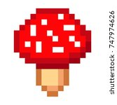 pixel art amanita mushroom...   Shutterstock . vector #747974626