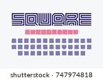 square shape letters linear... | Shutterstock .eps vector #747974818