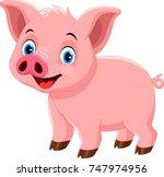 vector illustration of cute pig ... | Shutterstock .eps vector #747974956