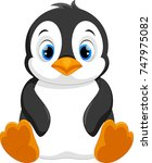 cute baby penguin cartoon... | Shutterstock . vector #747975082