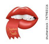 christmas sale lips. vector... | Shutterstock .eps vector #747983116