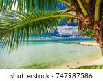 beach with palm trees on the... | Shutterstock . vector #747987586