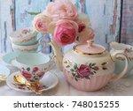 vintage pink roses teapot  pink ... | Shutterstock . vector #748015255