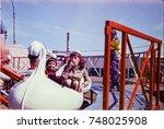 ussr  leningrad   circa 1982 ... | Shutterstock . vector #748025908