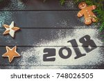 photo with figures 2018  new... | Shutterstock . vector #748026505
