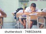 asian rural student interest...   Shutterstock . vector #748026646