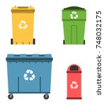 thrash and recycling can.... | Shutterstock .eps vector #748032175