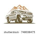 pick up car monochrome label ... | Shutterstock .eps vector #748038475