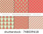 set of winter holiday seamless... | Shutterstock .eps vector #748039618