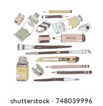 hand drawn art tools and... | Shutterstock .eps vector #748039996