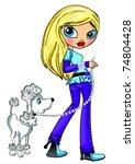 fashion cartoon girl  and dog | Shutterstock . vector #74804428